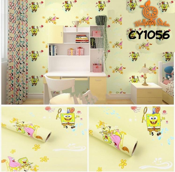 wallpaper sticker dinding 3d 45cmx10m motif kartun anak