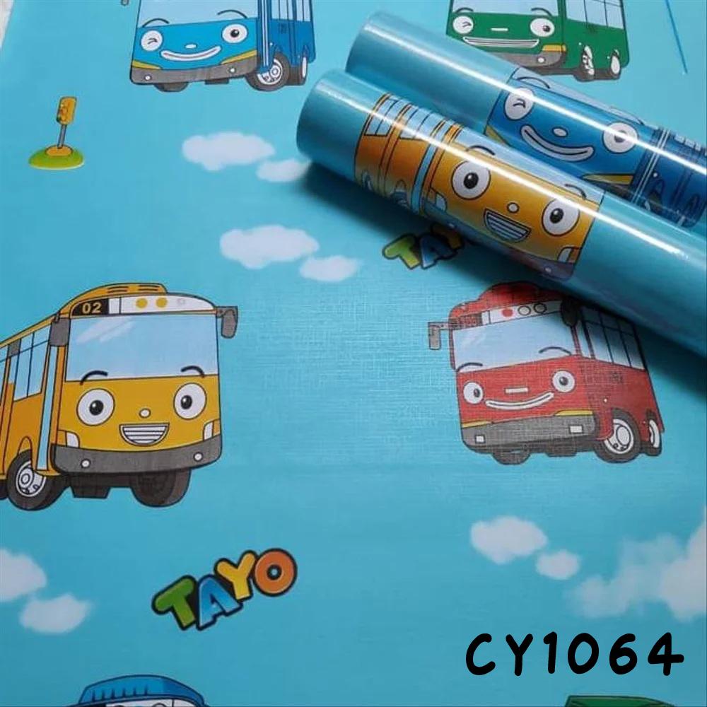 wallpaper sticker dinding motif kartun mobil tayo